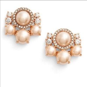 ✨NWOT✨ Pink Posy Petals Pearls Rose Gold Studs